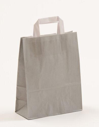 Papiertragetaschen GRAU Papiertüten Tüten Tragetaschen Flachhenkeltaschen Grey