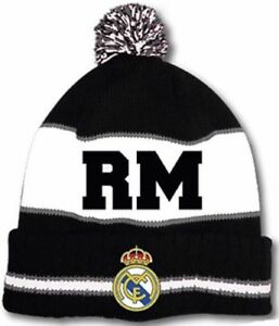 839c1bebc49 REAL MADRID FC CLUB CRESTED CUFFED KNITTED WOOLY BEANIE BOBBLE ADULT ...
