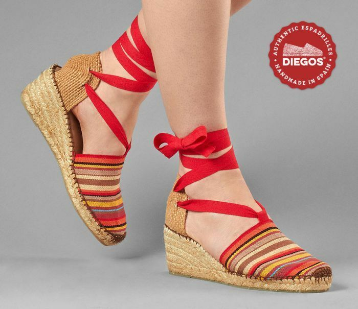 Diegos® Authentic Handmade Spanish Espadrilles | ROT stripes high wedge schuhe