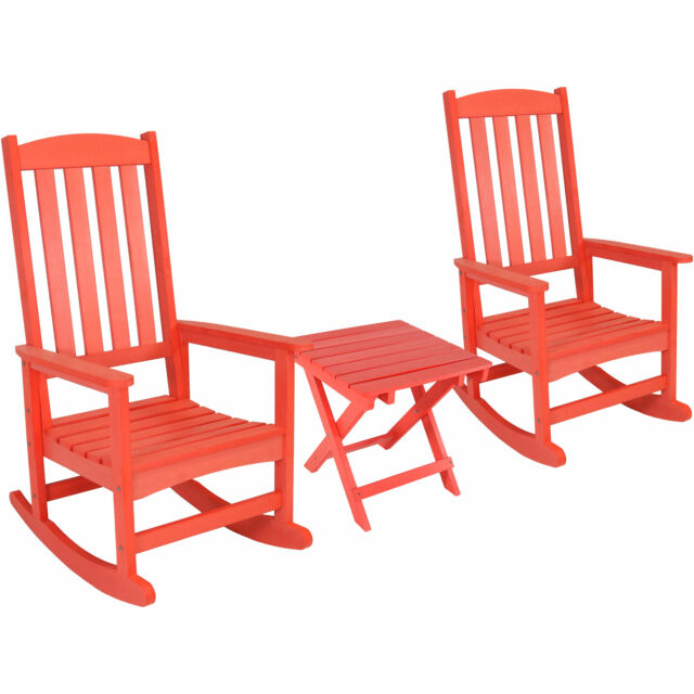 Amazing Sunnydaze All Weather Rocking Chair Set Of 2 With Side Table Salmon Pdpeps Interior Chair Design Pdpepsorg