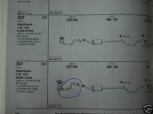 Peugeot 307 Reparaturrohr Hosenrohr für Katalysator