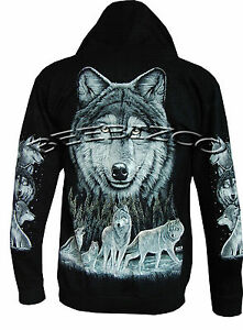 Wolf Pack Biker Native American Indian Animal Zip Zipped Hoodie Hoody Jacket