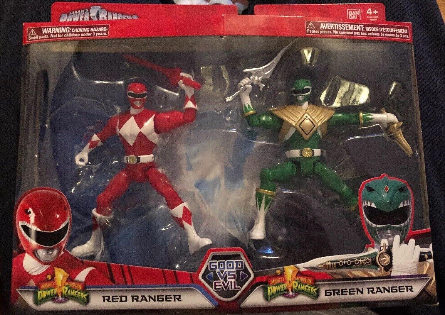 Power Rangers Mega Collection Good Vs. Evil MMPR Morphin rosso & verde Ranger.