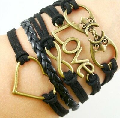 NEW Hot Infinity Love Anchor Leather Cute Charm Bracelet Bronze DIY SL195