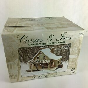 Currier-Ives-Christmas-cottage-old-farm-house-light-up-museum-new-york-porcelain