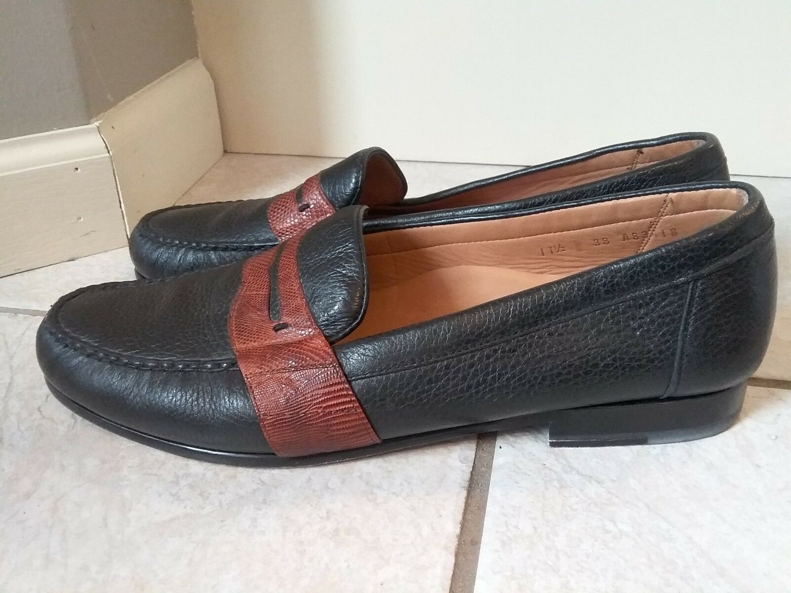 ALAN PAYNE Mens Marronee nero Pebbled Leather Genuine Lizard Loafers Dimensione 11.5