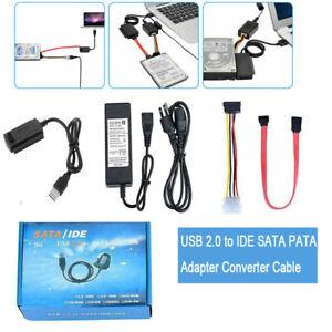 USB 2.0 to SATA/PATA/IDE 2.5 3.5'' Hard Drive HD HDD Converter Adapter Cable Kit