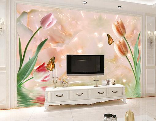 3D Flowers Butterfly Dancing 05 Wall Paper Wall Print Decal Wall AJ WALLPAPER CA