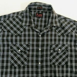 Plains-Western-Wear-Men-XLT-Tall-Brown-Plaid-Pearl-Snap-Long-Sleeve-Shirt