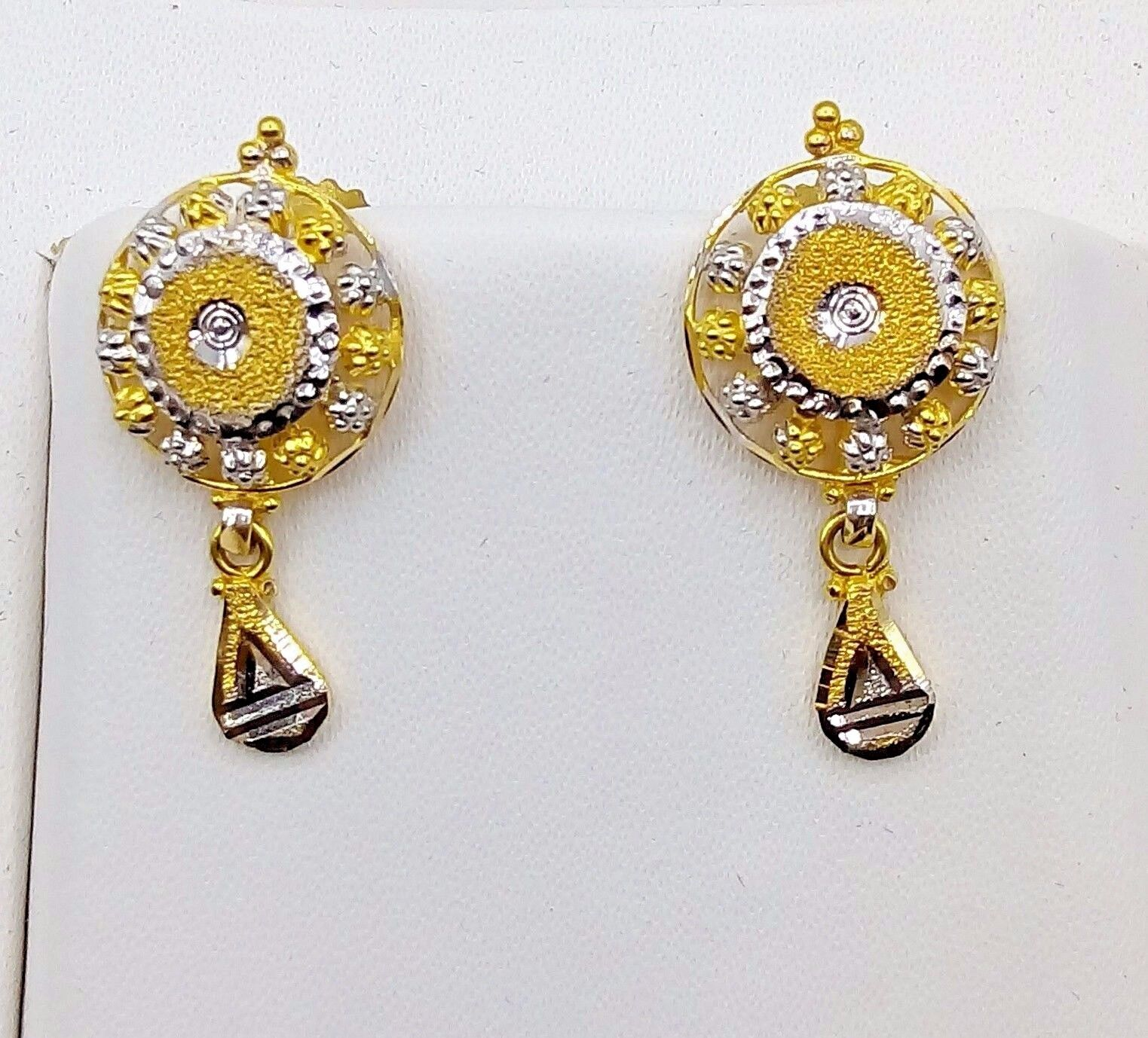 gold GIFT INDIA 22 K gold ANTIQUE TRIBAL HANDMADE EARRING JEWELRY