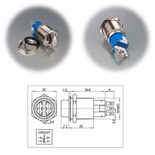 tournant Interrupteur Métal Interrupteur ip50 250v- 3 A Commutateurs rotatifs acier inoxydable 1//2 broches