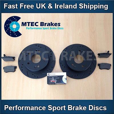 Ford Focus st225 2,5 Mtec perforados acanalada para disminución de Freno Trasero Discos /& Brembo almohadillas