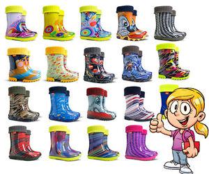 WELLIES-KIDS-RAIN-WELLINGTON-Rainy-Snow-Boots-Shoes-Socks-Children-Baby-Boy-Girl