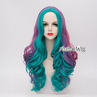 65CM Lolita Turquoise Purple Mixed Ombre Halloween Heat Resistant Cosplay Wig