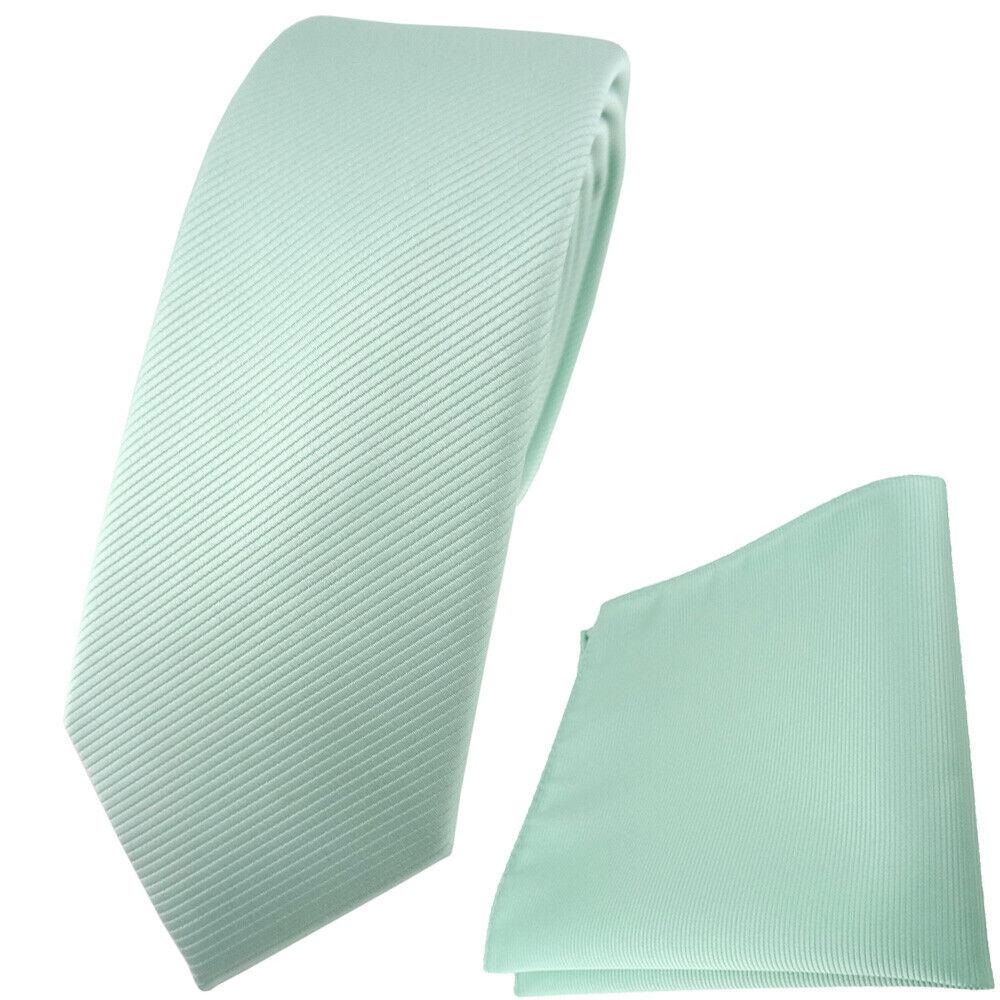 schmale TigerTie Krawatte + Einstecktuch in mint grün einfarbig Uni Rips