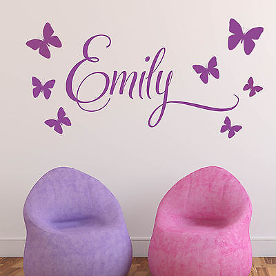 Baby Girls Wall Sticker - Personalised 7 Butterflies Child Name Bedroom Nursery