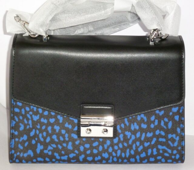 9592c4d7450b Authentic Michael Kors Electric Blue Black Sloan Leopard Satchel Crossbody