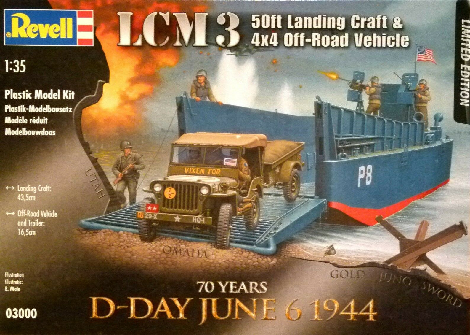 Revell 1 35 LCM 3 Landing Craft And Jeep With Trailer Vehicle Model Kit
