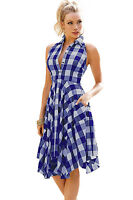 New Ladies Blue & White Check Shirt Dress Casual/Day/Club Size UK 8-10
