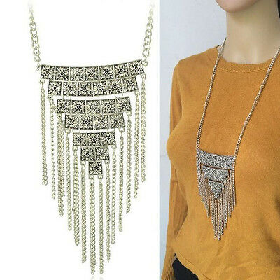 Fashion Charm Triangle Tassels Pendant Long Chain Sweater Necklace Jewelry