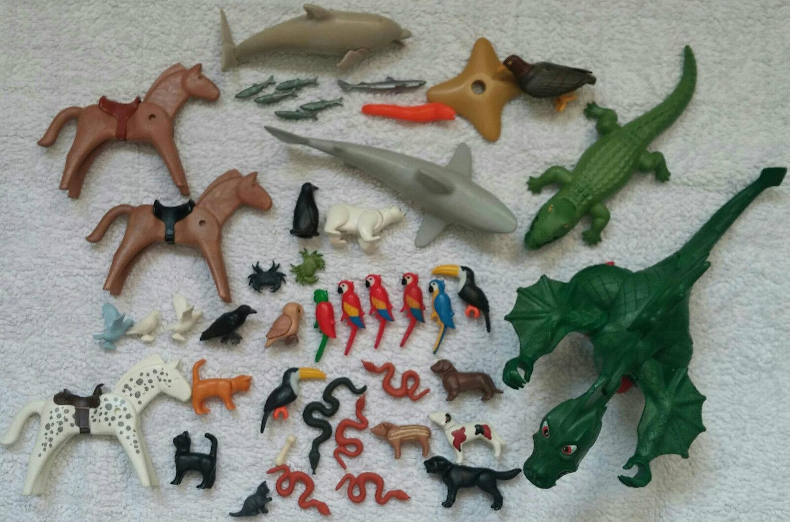 PLAYMOBIL 42 Tiere (Hai, Krokodil, Pferde, Vogel uvm) + Drache   Gebraucht  used