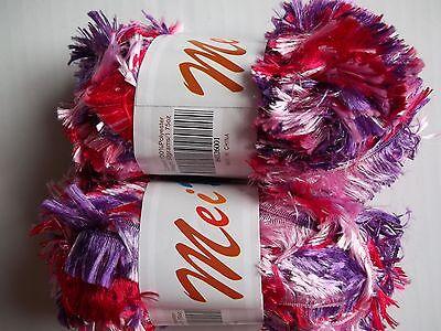 lot of 2 MeiMei Fancy Knitting Yarn purple tones eyelash boa