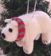 POLAR BEAR felt wool knitted scarf CHRISTMAS TREE DECORATION NEW