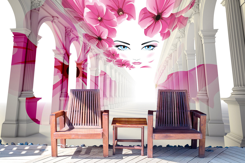 3D Blaumen, schönes Gesicht 76 Fotapeten Wandbild Fototapete BildTapete FamilieDE