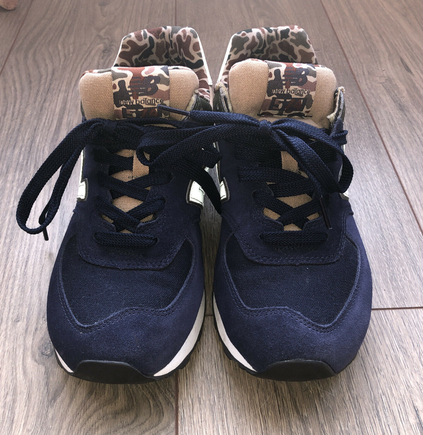 New balance ML574 HVA trainers in Blue with Camouflage print Size 8 Excellent