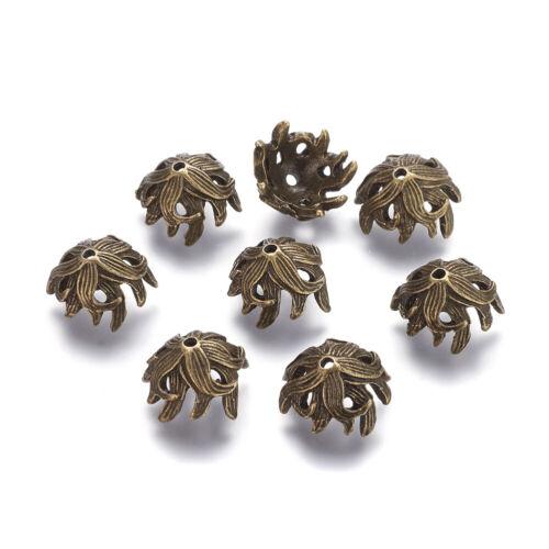 50pcs Tibetan Alloy Flower Bead Caps Textured Bronze Nickel Free Spacers 10x15mm