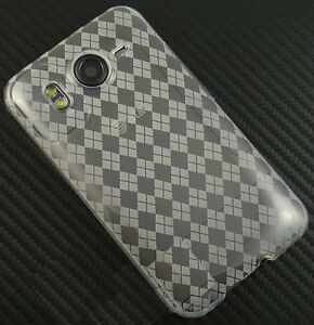 For-HTC-Inspire-4G-Hard-TPU-FLEXI-Candy-Skin-Snap-on-Phone-Case-Clear-Plaid