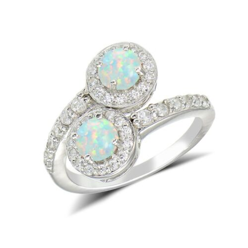 Simulated Opal and Cubic Zirconia Round-cut Halo Friendship Ring
