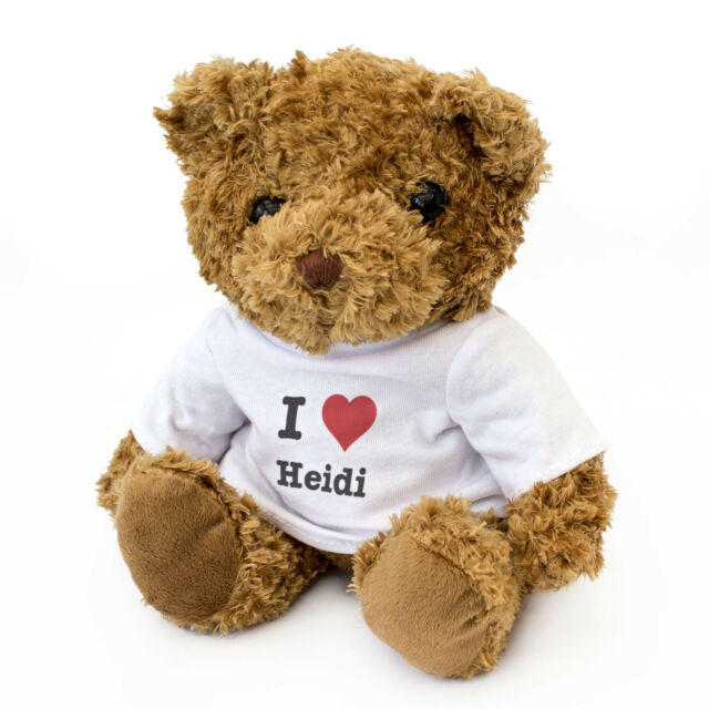 NEW - I LOVE HEIDI - Teddy Bear Cute Cuddly - Gift Present Birthday Valentine