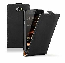 SLIM BLACK Leather Flip Case Cover Pouch For Mobile Phone Huawei Y 5II