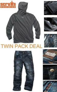 Scruffs Trade Pantaloni da lavoro denim Blu Jeans industriale Felpa con cappuccio attivo Twinpack