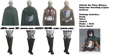 New Top Quality Attack On Titan Mikasa Ackerman Scouting Legion Uniform Cosplay