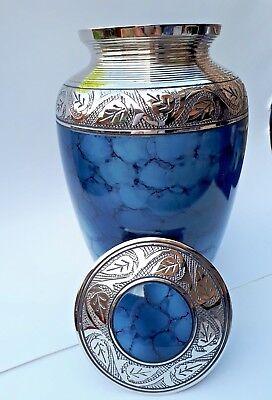 Collezione Qui Alta Qualità In Ottone!!! Adulto Cremazione Urna Per Ceneri-sorprendente Design Cloud Blu-