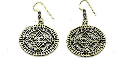 YAPREE HANDMADE INDIA NEPALESE TRIBAL BOHO ETHNIC GOLD TONE SRI YANTRA EARRINGS