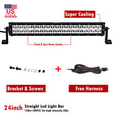 24INCH 120W LED Work Light Bar Flood Spot COMBO + 3M Wiring Harness for Offroad