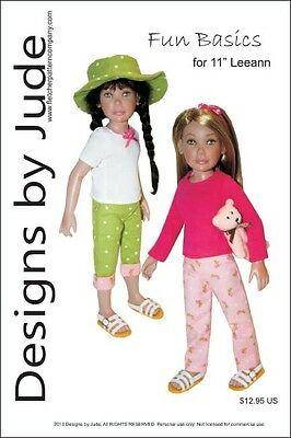 "Pleated Dress Doll Clothes Sewing Pattern 11/"" Leeann Dolls"