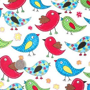 Tweet rainbow birds cotton fabric kids children for Bird nursery fabric