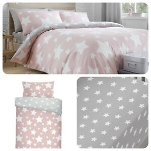 Bedlam-STARS-Pink-Kids-Duvet-Quilt-Cover-Bedding-Set-Fitted-Sheet-Girls
