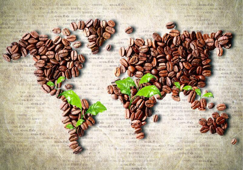 3D Coffee World Map Drink Wall Paper Print Decal Wall Deco Indoor wall Mural