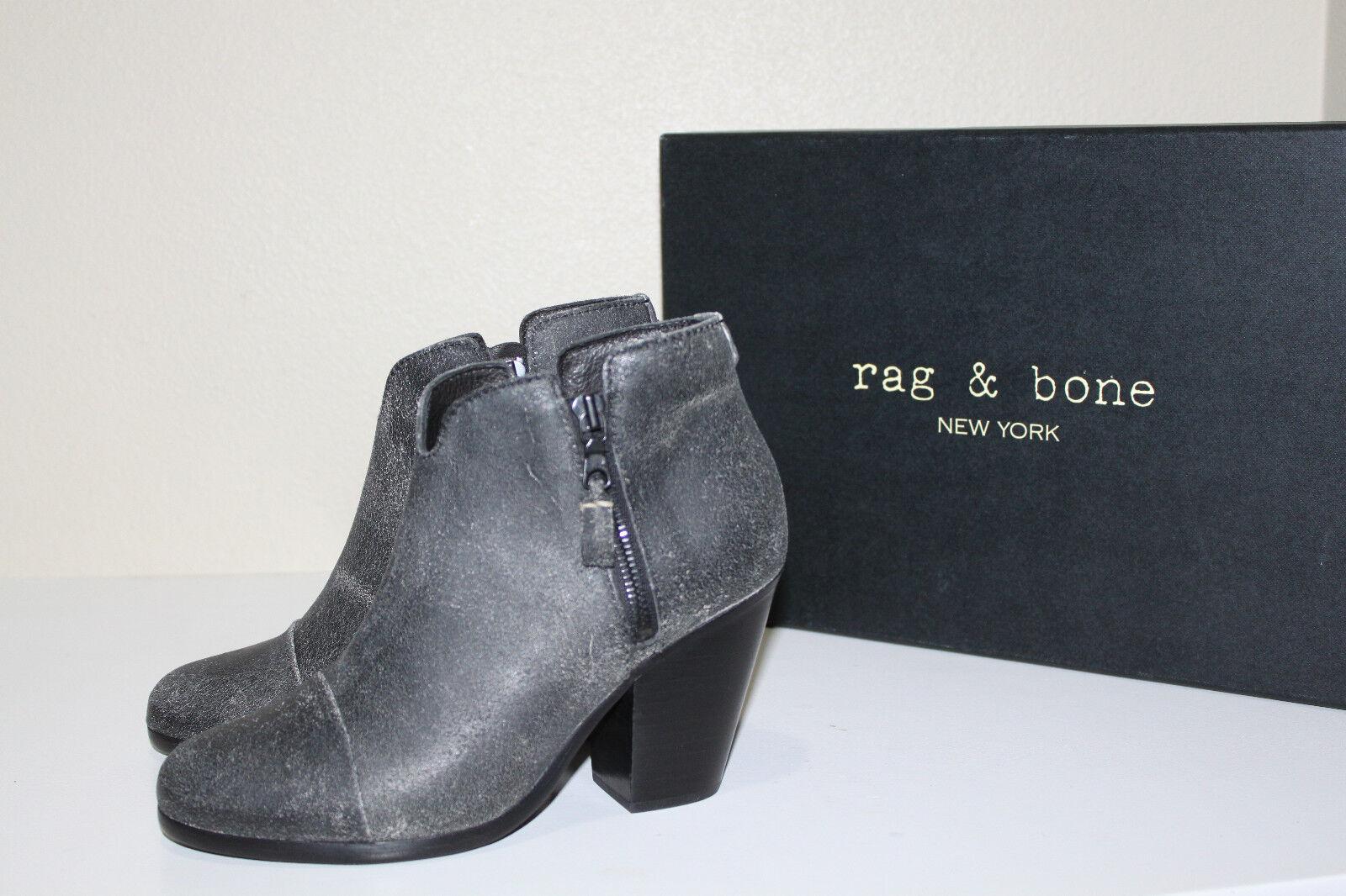 New sz 6 / 36 Rag & Bone Margot Gray Black Suede Ankle Bootie Heel Shoes