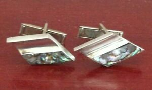 VINTAGE-925-STERLING-SILVER-ABALONE-INLAY-MEXICO-EAGLE-MARK-CUFFLINKS