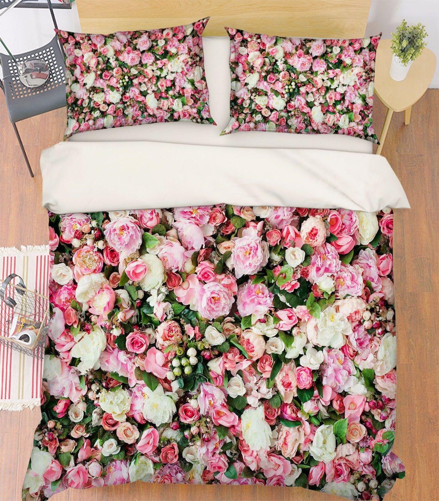 3D Blaumen 748 Bett Kissenbezüge steppen Duvet Decken Set Single DE Carly