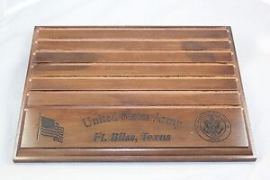 Details about Military Challenge Coin Holder/Display 9x12, US Army Ft   Bliss, TX, Walnut