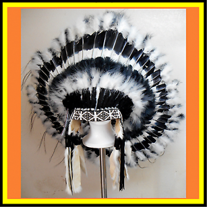 Genuine-Native-American-Navajo-Indian-Headdress-36-034-034-SHADOW-DANCER-034-Black-White