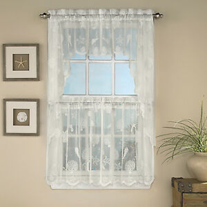 reef marine ivory knitted lace kitchen curtains choice of tier