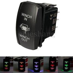 12V-24V-Boat-UTV-Dual-LED-Light-Winch-In-Out-ON-OFF-ON-Laser-Rocker-Switch